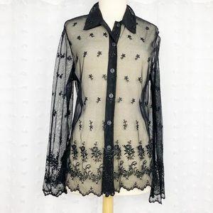 Vtg black mesh floral embroidered button front top